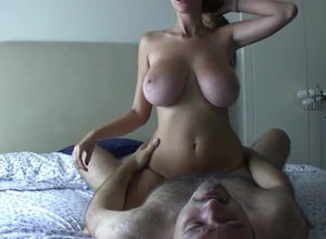 Magnificent wifey with immense breasts..