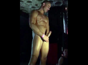 Faggot stripper kneads salami at soiree