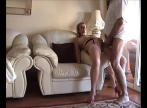 Buxom mature peels off all nylons to..