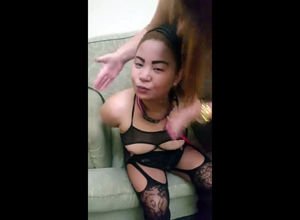 Filipina damsel victim in fishnet..