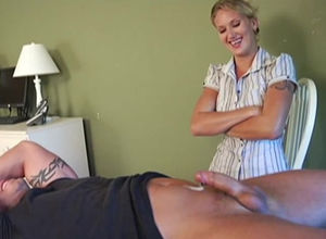 Joyful dame jacking man-meat off..