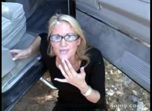 Platinum-blonde wifey in glasses gets..