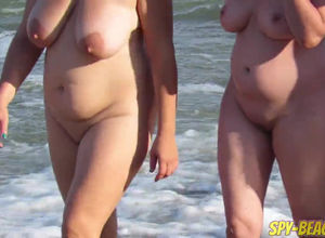 Mature couples on the naked beach from..