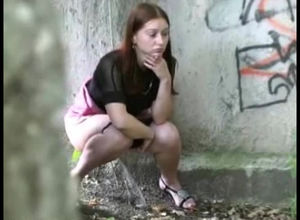 Brown-haired Czech gal pees off the..