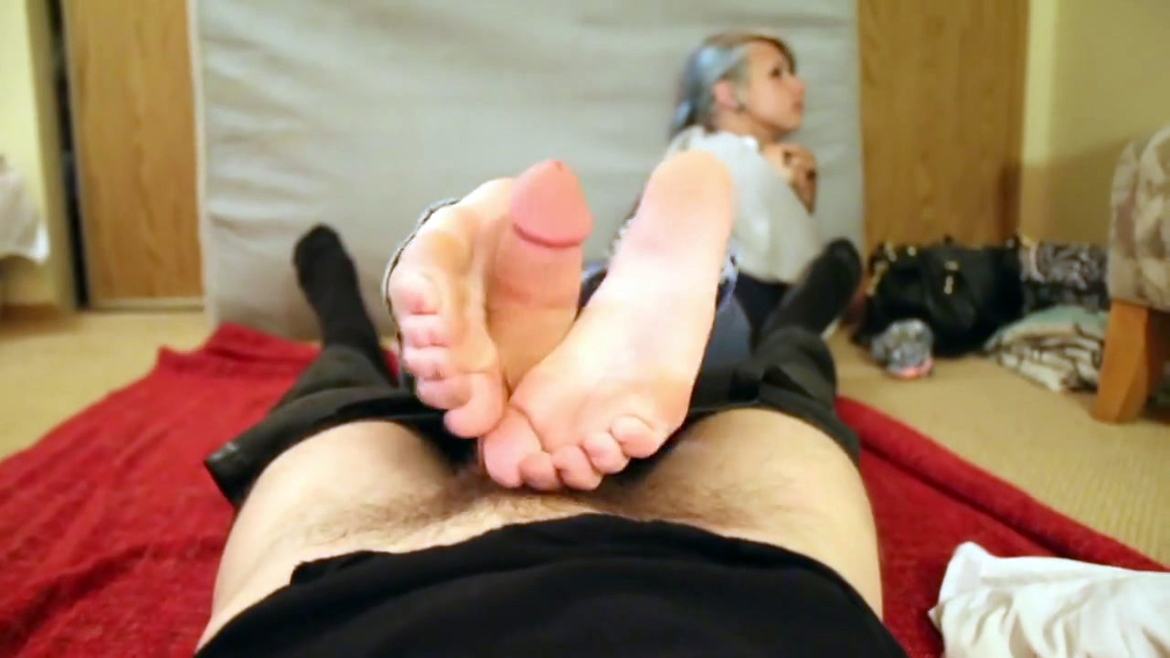 Tiny ex-gf does ultra-cute footjob and..